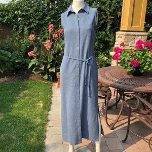 Option Elle Slvless Maxi Shirt Dress Blue S